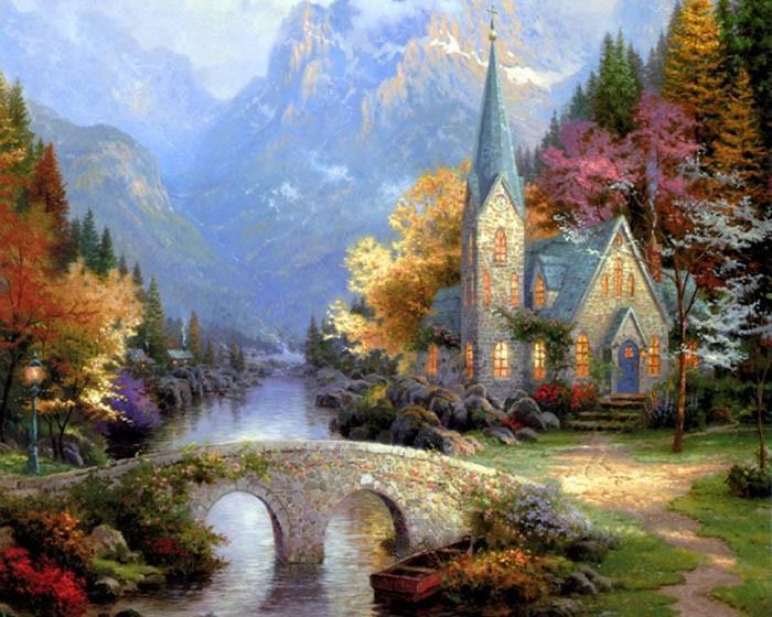 Beautiful Scenery of Church In Woods- Paint Yourself with Paint by Numbers