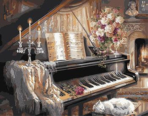 Vintage Painting of Piano
