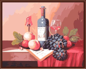 Still Life Wine Bottle & Fruits