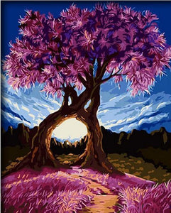 Amazing Scenery of Purple Tree - Painting by Number Kit
