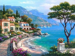 Scenery of Beautiful Town Near Sea - Art by Numbers