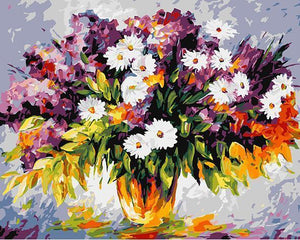 Lovely Painting of Flower's Vase with Yellow Background\