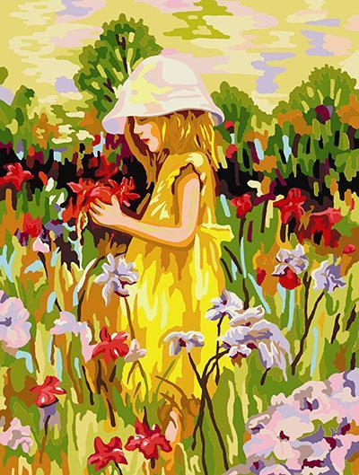 Colorful Painting of Little Girl in Fields