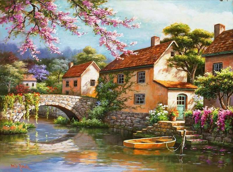 Vintage Painting of Beautiful Town - Paint Yourself