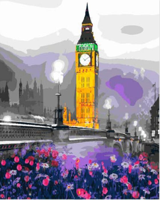 Stunning Painting of Purple Flower Gadern To London Tower