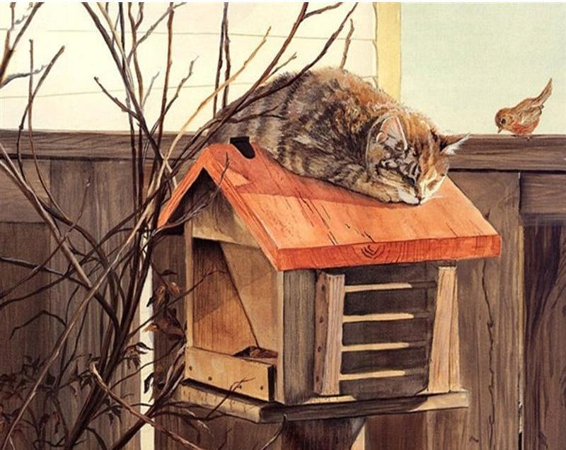 Painting of Cat Sleeping at Mail Box
