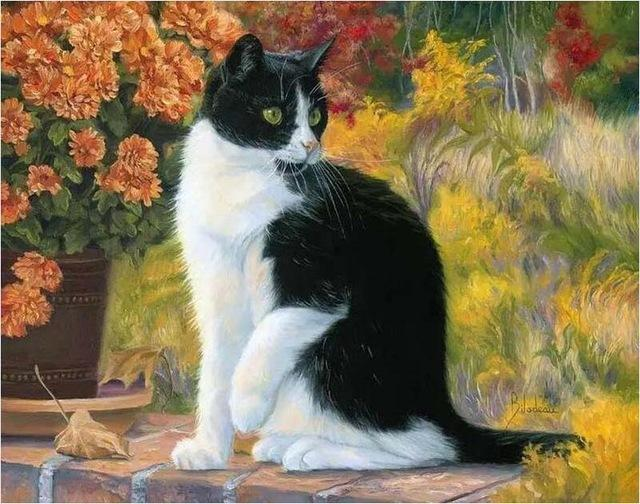 Cat Sitting Near Flowers - Paint by Numbers
