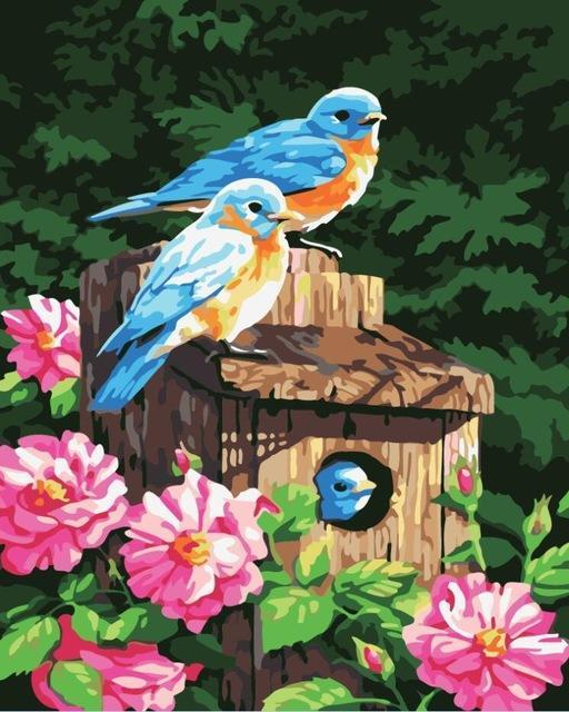 Painting of Adorable Yellow Blue Birds