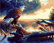 Load image into Gallery viewer, Painting of Bald Eagle Resting At Lake