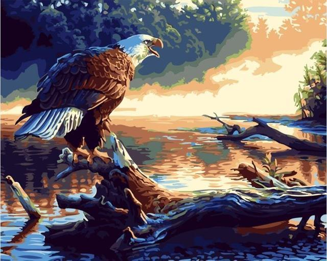 Painting of Bald Eagle Resting At Lake