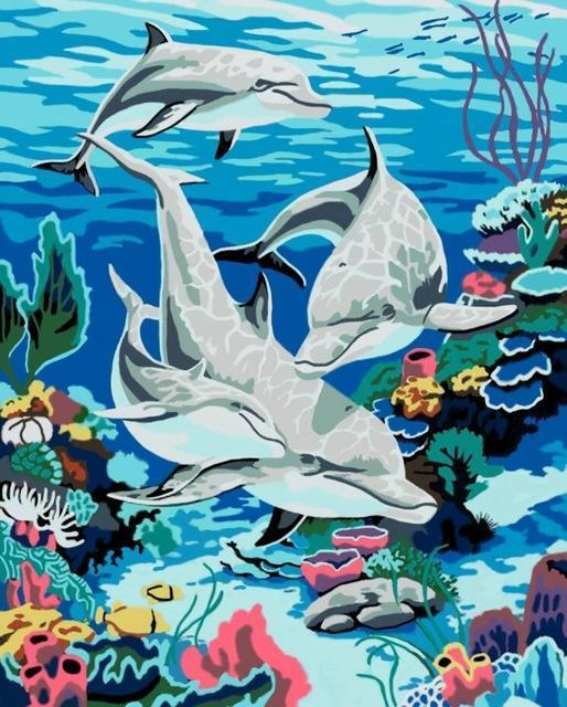 Beautiful Painting of Friendly Dolphins