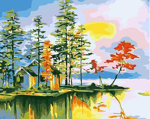 Amazing Painting of Forest In Autumn DIY Paint by numbers Kit