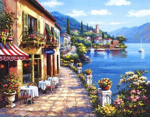 Amazing Painting of Street at the Edge of Lake