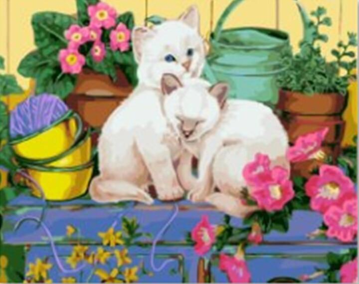 Cats Playing Behind Flower Pots