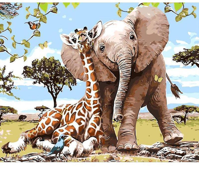 Giraffe and Elephant Friendship