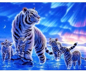 Beautiful Painting of White Tigers