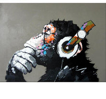 Load image into Gallery viewer, Creative Painting of Ape Enjoying Music - Painting by Numbers