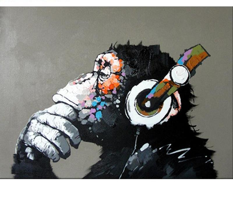Creative Painting of Ape Enjoying Music - Painting by Numbers