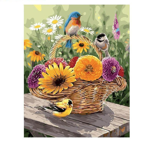 Adorable Painting of Birds Sitting at Flower's Basket