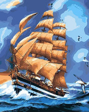 Load image into Gallery viewer, Ship in the High Waves Painting by Numbers