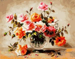 Lovely Painting of Roses for Glass Vase