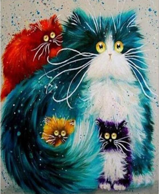 Painting of Fluffy Cartoon Cats