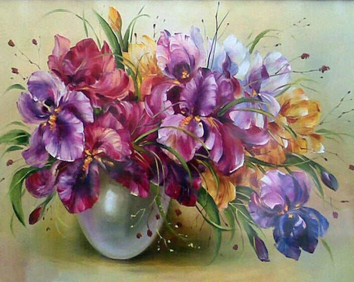 Colorful Painting of Flowers In Vase
