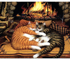 Painting of Cute Kittens sleep at warm
