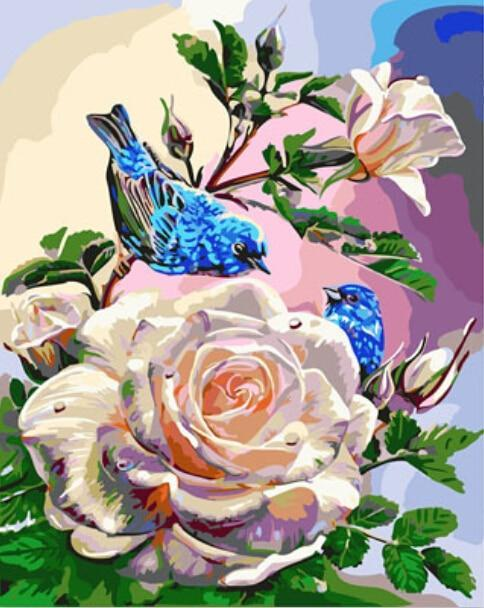 Blue Sparrows Love White Rose - DIY Painting