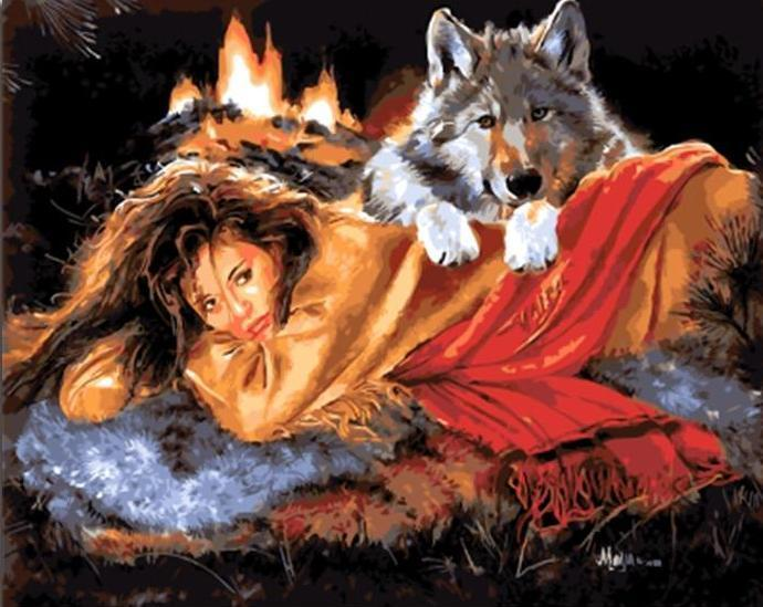 Painting of Girl warm with Wolf