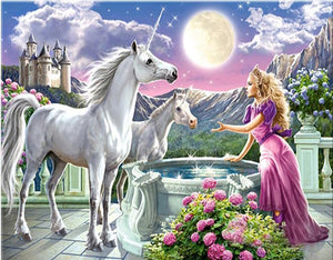 Painting of Mythical Unicorn And Fairy