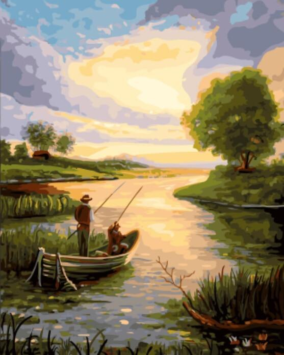 Amazing Painting of Fishing At Dawn - Paint By Numbers Kit