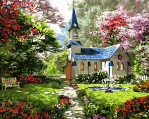 Outstanding Painting of Garden of Church