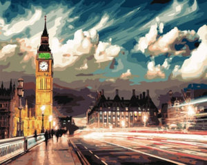 London Street View with Cloudy Sky
