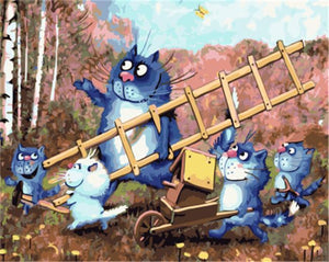 Beautiful Painting Of Cartoon Family of Cats