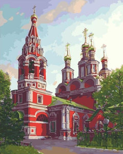 Painting of Red Church In Town