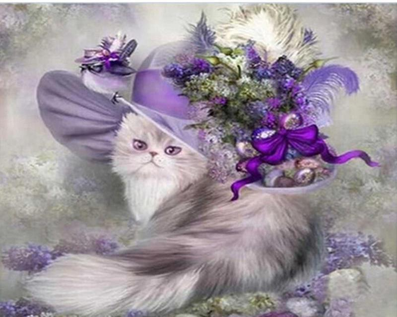 Painting of Cute Cat With Purple Hat