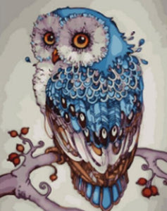 Abstract Painting of Blue Owl