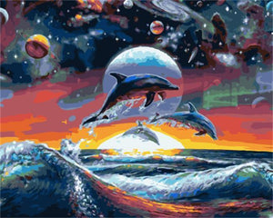 Beautiful Painting of Dolphing Under Galaxy