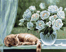 Load image into Gallery viewer, Cat Sleeps Beside Glass Vase
