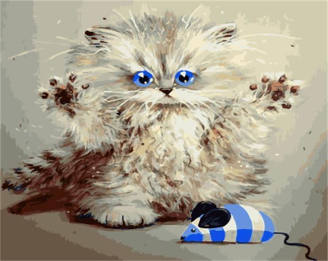 cat paint by numbers kits for adults