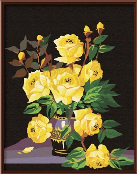 Stunning Beauty of Yellow Roses - Paint By Numbers