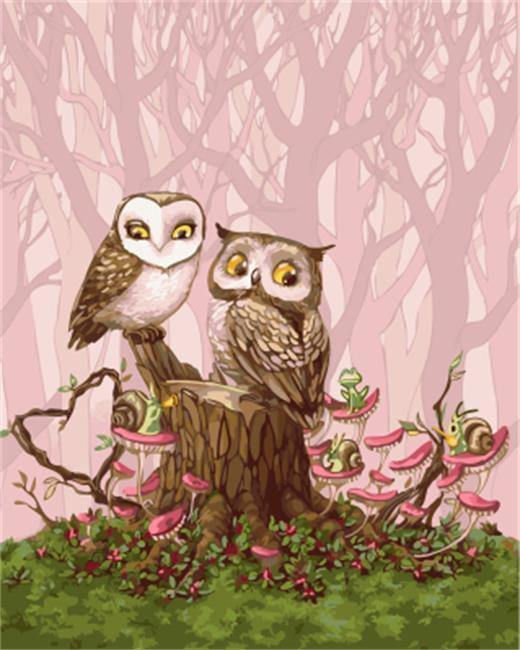 cartoon owls painting