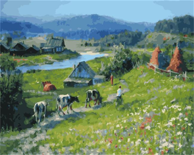 Beautiful Painting of Life in Village - DIY Painting