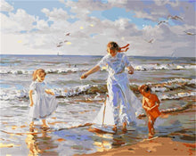Load image into Gallery viewer, Painting of Family's Pray Time At Beach