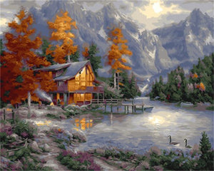 Amazing Painting of Cottage In the Autumn Tree