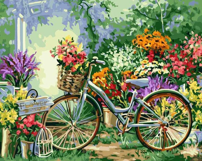flowers bicycle paint by numbers