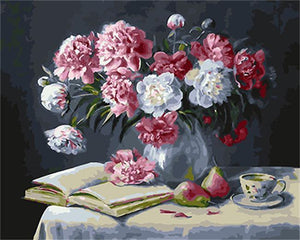 Elegant painting of Peonies in Vase