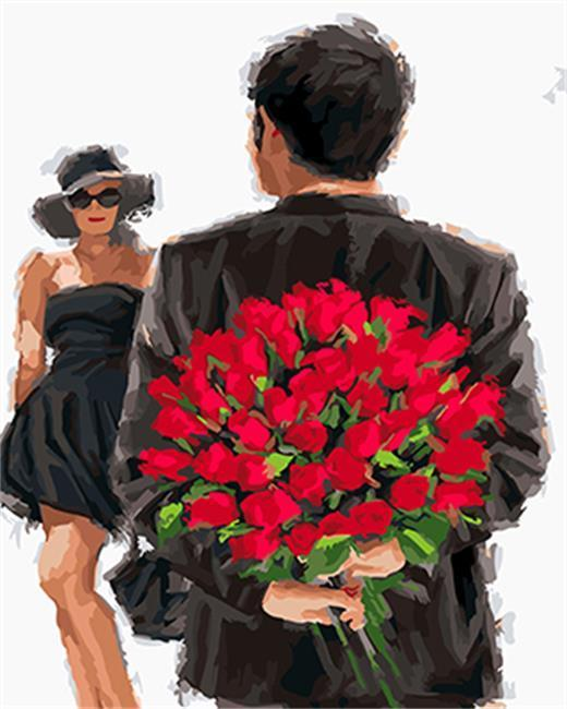 A Couple in Black With Roses