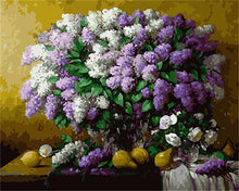 Load image into Gallery viewer, White & Purple Flowers with Lemons -DIY Painting